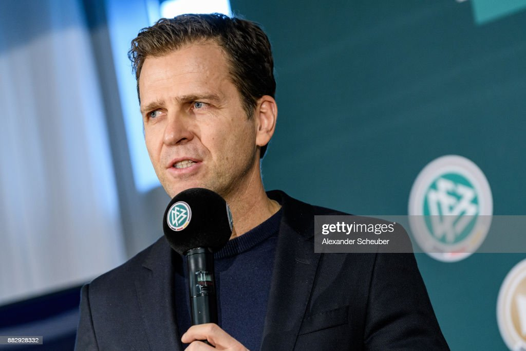 Oliver Bierhoff attends the 1st International DFB Game Analysis Congress - Press Conference on November 30, 2017 in Frankfurt am Main, Germany.