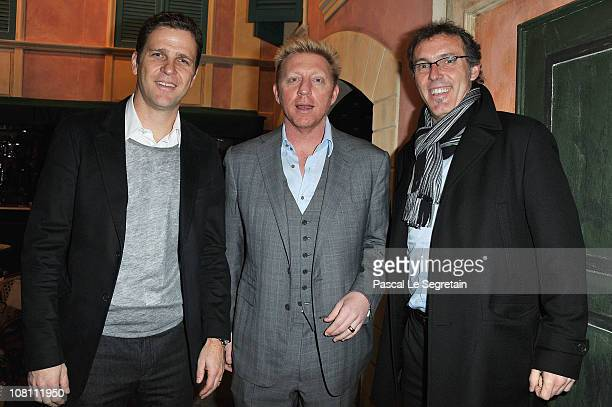 Oliver Bierhoff Boris Becker and Laurent Blanc attend the IWC launch of the Portofino watch range at the SIHH International Fine Watch makers...