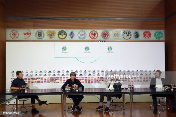 Oliver Bierhoff, Director of the national team and DFB Academy, head coach Joachim Loew, DFB president Fritz Keller, and DFB Secretary General...