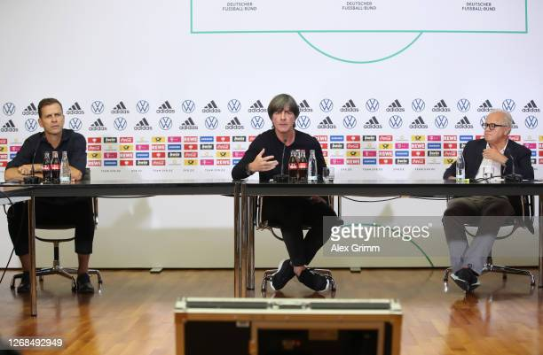 Oliver Bierhoff, Director of the national team and DFB Academy, head coach Joachim Loew, and DFB president Fritz Keller attend a virtual press...