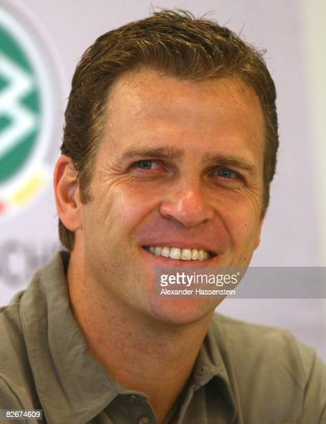Oliver Bierhoff manager of the German National team attends a press conference of the German National team at the AFG Aena on September 5 2008 in...