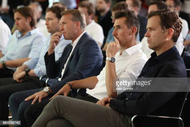 Oliver Bierhoff Miroslav Klose Andreas Koepke Marcus Sorg and Thomas Schneider attend a press conference of Germany head coach Joachim Loew and U21...