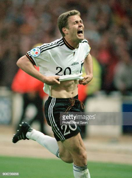 Oliver Bierhoff of Germany celebrates his golden goal the first in the history of major international football during the UEFA Euro96 final at...