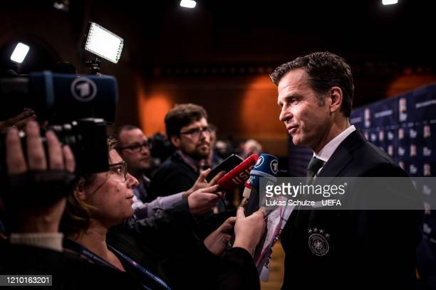 Oliver Bierhoff, team manager of Germany, gives an interview in the flash/mixed zone after the UEFA Nations League Draw at Beur van Berlage on March...