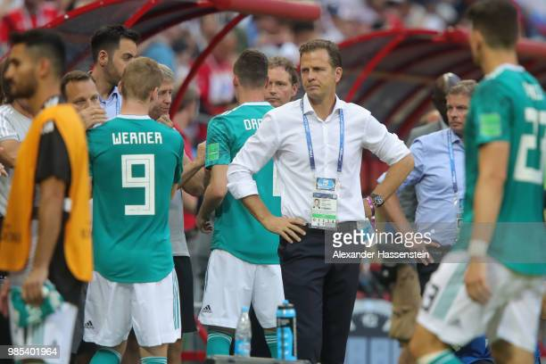 Oliver Bierhoff, team manager of Germany looks dejected following his sides defeat in the 2018 FIFA World Cup Russia group F match between Korea...