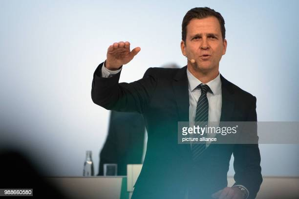 Oliver Bierhoff team manager of the German national soccer team speaks to the delegates at the extraordinary federal conference of the German...