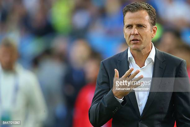 Oliver Bierhoff team manager of the German national team looks on prior to the UEFA EURO 2016 quarter final match between Germany and Italy at Stade...