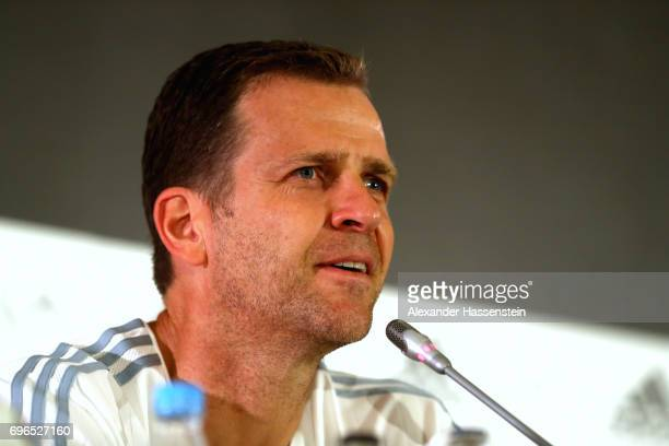 Oliver Bierhoff team manager of the German national team talks to the media during a Press Conference of the German national team at Radisson Blu...