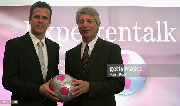 Oliver Bierhoff teammanager of the German national team meets Walter Raizner manager of German Telekom before the match between Argentina and Germany...