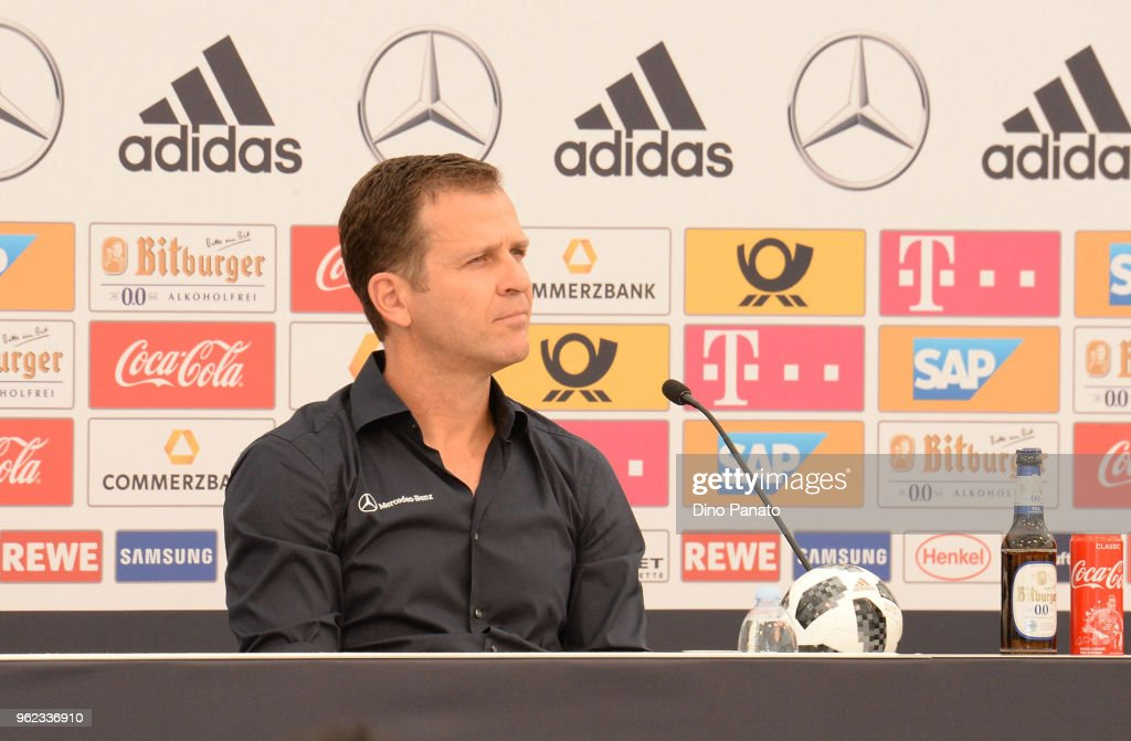 Oliver Bierhoff the German Team Manager talks during press confererence at the Southern Tyrol Training Camp day three at on May 25, 2018 in Bolzano, Italy.