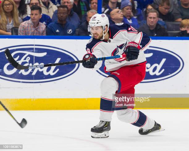 Oliver Bjorkstrand of the Columbus Blue Jackets against the Tampa Bay Lightning at Amalie Arena on January 8 2019 in Tampa Florida n