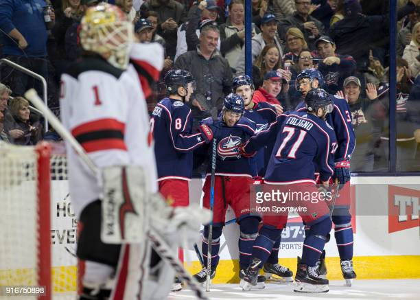 Oliver Bjorkstrand of the Columbus Blue Jackets celebrates a goal with his team during the second period of the game between the Columbus Blue...