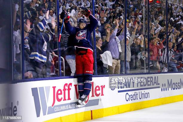 Oliver Bjorkstrand of the Columbus Blue Jackets celebrates after scoring a goal during the second period of Game Four of the Eastern Conference First...