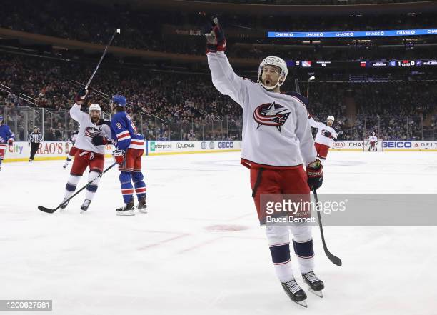 Oliver Bjorkstrand of the Columbus Blue Jackets celebrates his goal at 608 of the third period against the New York Rangers at Madison Square Garden...
