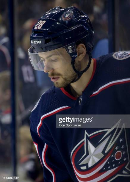 Oliver Bjorkstrand of the Columbus Blue Jackets during warmups before the game between the Columbus Blue Jackets and the Pittsburgh Penguins at...