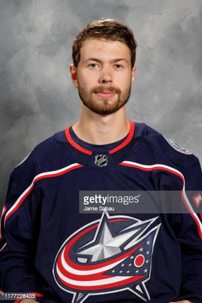 Oliver Bjorkstrand of the Columbus Blue Jackets poses for his official headshot for the 20192020 season on September 12 2019 at Nationwide Arena in...