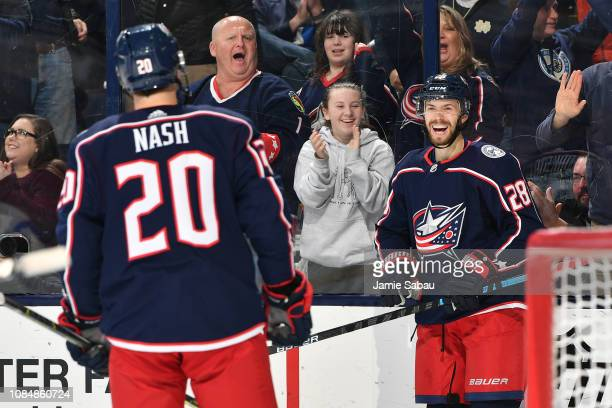 Oliver Bjorkstrand of the Columbus Blue Jackets reacts after scoring a goal during the third period of a game against the Montreal Canadiens on...