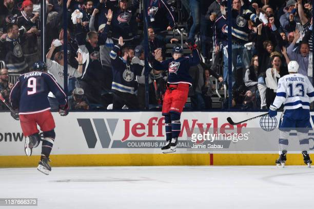 Oliver Bjorkstrand of the Columbus Blue Jackets reacts after scoring a goal during the second period in Game Four of the Eastern Conference First...