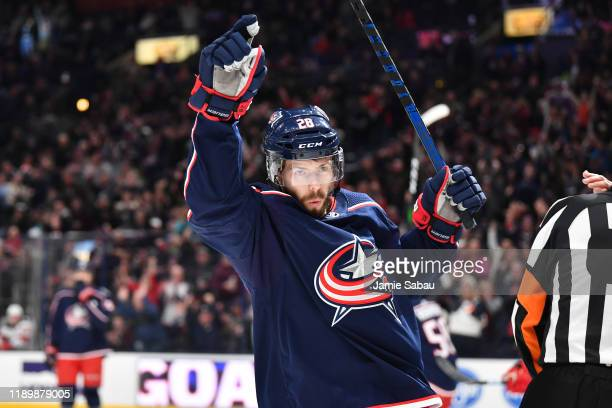 Oliver Bjorkstrand of the Columbus Blue Jackets reacts after scoring his second goal of the first period during a game against the New Jersey Devils...