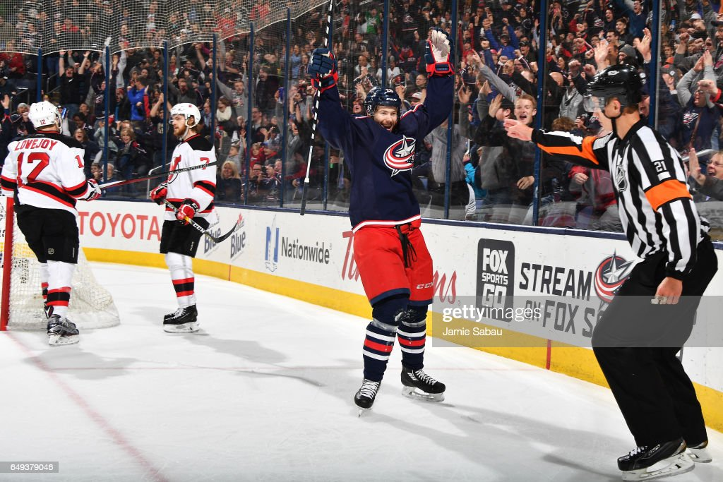 Oliver Bjorkstrand #28 of the Columbus Blue Jackets reacts after scoring a goal during the third period of a game against the New Jersey Devils on March 7, 2017 at Nationwide Arena in Columbus, Ohio. Columbus shutout New Jersey 2-0.