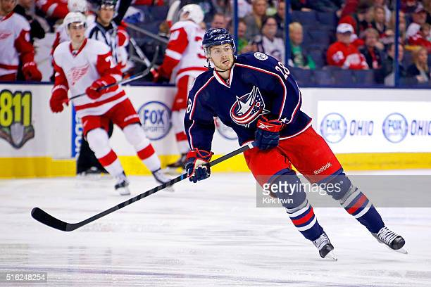 Oliver Bjorkstrand of the Columbus Blue Jackets skates after the puck during the game against the Detroit Red Wings on March 17 2016 at Nationwide...