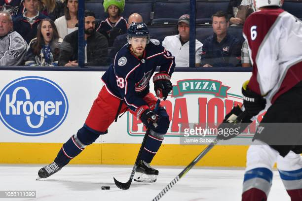 Oliver Bjorkstrand of the Columbus Blue Jackets skates against the Colorado Avalanche on October 9 2018 at Nationwide Arena in Columbus Ohio