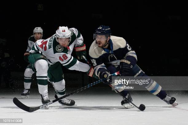 Oliver Bjorkstrand of the Columbus Blue Jackets skates against the Minnesota Wild on November 29 2018 at Nationwide Arena in Columbus Ohio