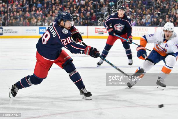 Oliver Bjorkstrand of the Columbus Blue Jackets skates against the New York Islanders on March 26 2019 at Nationwide Arena in Columbus Ohio