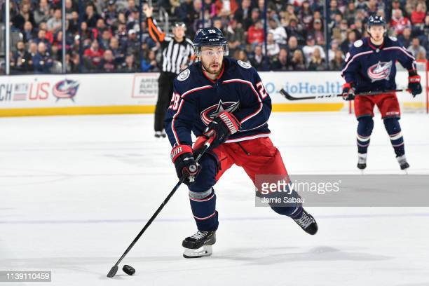 Oliver Bjorkstrand of the Columbus Blue Jackets skates against the Montreal Canadiens on March 28 2019 at Nationwide Arena in Columbus Ohio