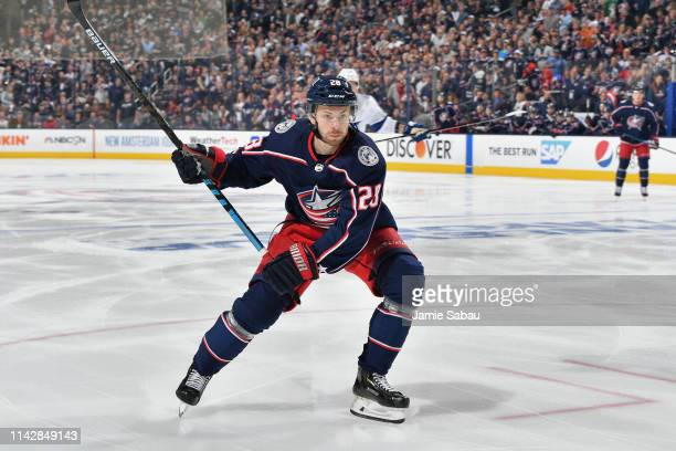 Oliver Bjorkstrand of the Columbus Blue Jackets skates against the Tampa Bay Lightning in Game Three of the Eastern Conference First Round during the...