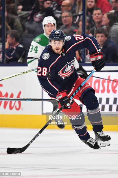 Oliver Bjorkstrand of the Columbus Blue Jackets skates against the Dallas Stars on October 16 2019 at Nationwide Arena in Columbus Ohio