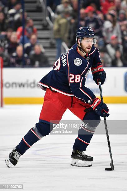 Oliver Bjorkstrand of the Columbus Blue Jackets skates against the Washington Capitals on December 16 2019 at Nationwide Arena in Columbus Ohio
