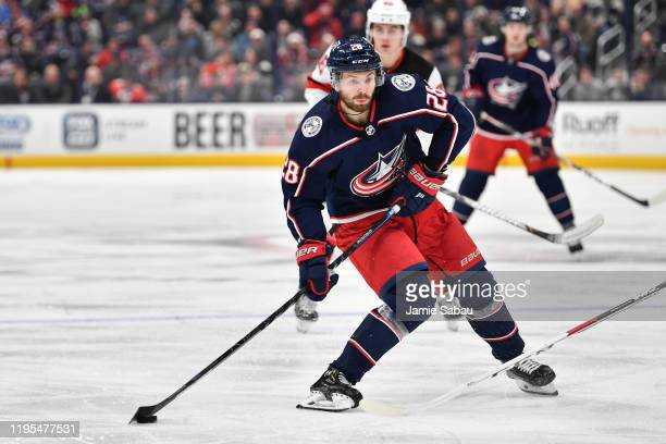Oliver Bjorkstrand of the Columbus Blue Jackets skates against the New Jersey Devils on December 21 2019 at Nationwide Arena in Columbus Ohio