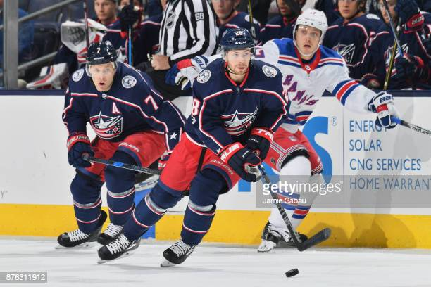 Oliver Bjorkstrand of the Columbus Blue Jackets skates against the New York Rangers on November 17 2017 at Nationwide Arena in Columbus Ohio