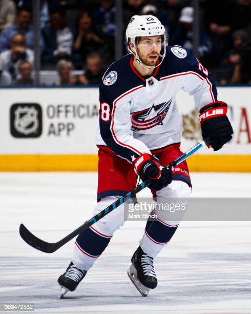 Oliver Bjorkstrand of the Columbus Blue Jackets skates against the Toronto Maple Leafs during the second period at the Air Canada Centre on January 8...