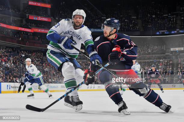 Oliver Bjorkstrand of the Columbus Blue Jackets skates against the Vancouver Canucks on January 12 2018 at Nationwide Arena in Columbus Ohio
