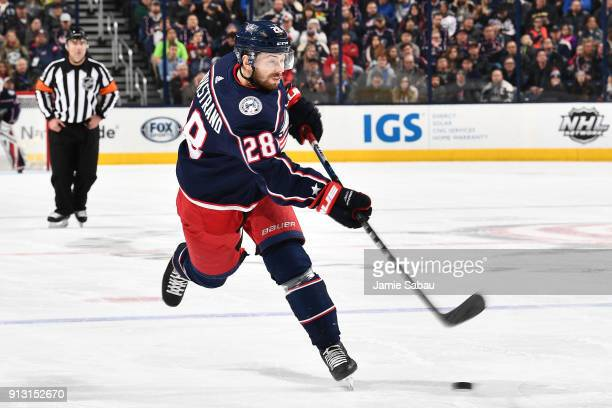 Oliver Bjorkstrand of the Columbus Blue Jackets skates against the Minnesota Wild on January 30 2018 at Nationwide Arena in Columbus Ohio