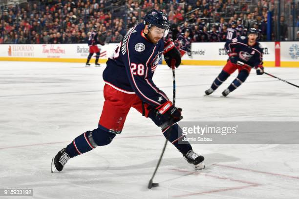 Oliver Bjorkstrand of the Columbus Blue Jackets skates against the Washington Capitals on February 6 2018 at Nationwide Arena in Columbus Ohio