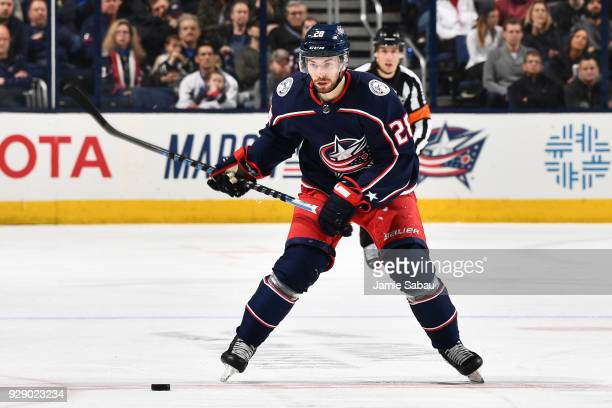 Oliver Bjorkstrand of the Columbus Blue Jackets skates against the Vegas Golden Knights on March 6 2018 at Nationwide Arena in Columbus Ohio