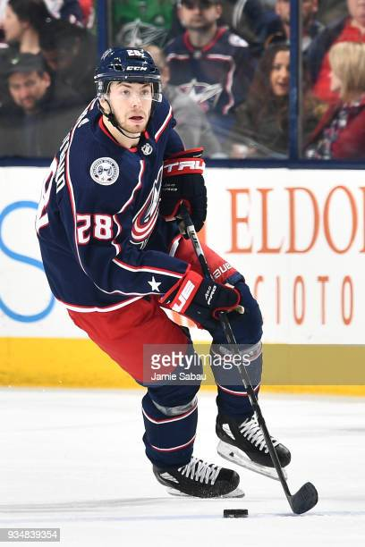 Oliver Bjorkstrand of the Columbus Blue Jackets skates against the Ottawa Senators on March 17 2018 at Nationwide Arena in Columbus Ohio