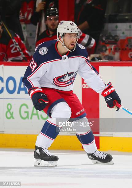 Oliver Bjorkstrand of the Columbus Blue Jackets skates during the game against the New Jersey Devils at Prudential Center on February 20 2018 in...