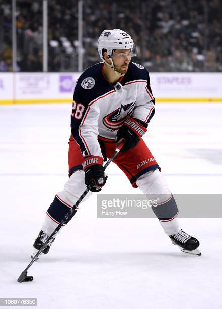 Oliver Bjorkstrand of the Columbus Blue Jackets skates in with the puck during the game against the Los Angeles Kings at Staples Center on November 3...