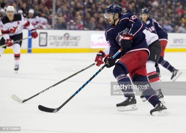 Oliver Bjorkstrand of the Columbus Blue Jackets skates with the puck during the second period of the game between the Columbus Blue Jackets and the...