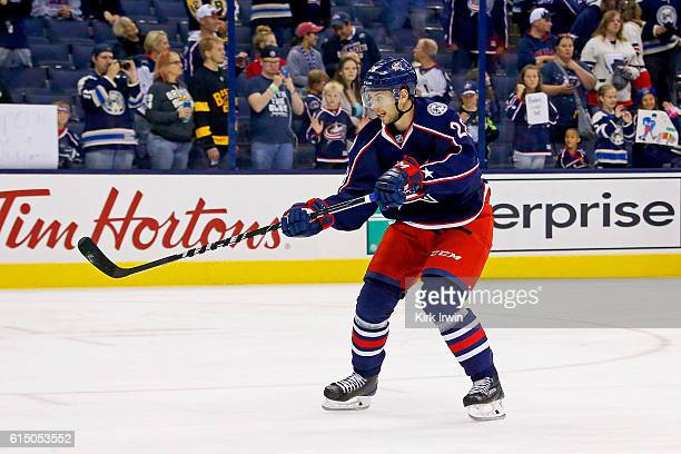Oliver Bjorkstrand of the Columbus Blue Jackets warms up prior to the start of the game against the Boston Bruins on October 13 2016 at Nationwide...