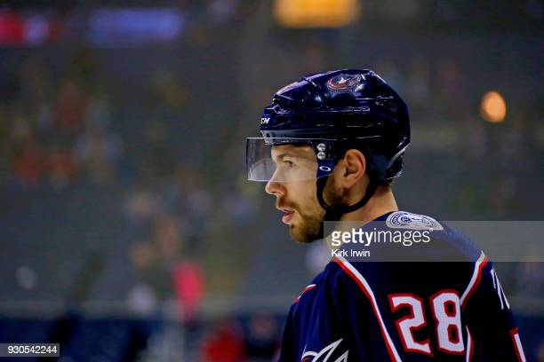 Oliver Bjorkstrand of the Columbus Blue Jackets warms up prior to the start of the game against the Detroit Red Wings on March 9 2018 at Nationwide...