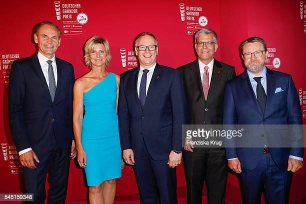 Oliver Blume Barbara Hahlweg Georg Fahrenschon Thomas Bellut and Christian Krug attend the Deutscher Gruenderpreis on July 5 2016 in Berlin Germany