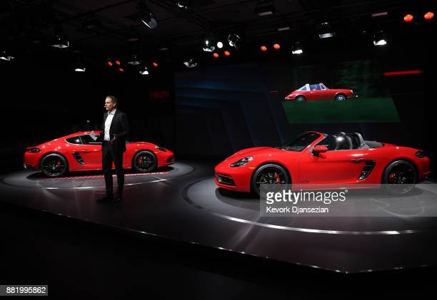 Oliver Blume Chairman of the Executive board of Porsche speaks during unveiling of Porsche 718 Cayman GTS and 718 Boxter GTS during the auto trade...