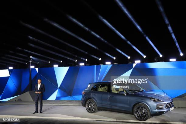 Oliver Blume chief executive officer of Porsche AG speaks during a launch event for the new Cayenne sport utility vehicle in Stuttgart Germany on...