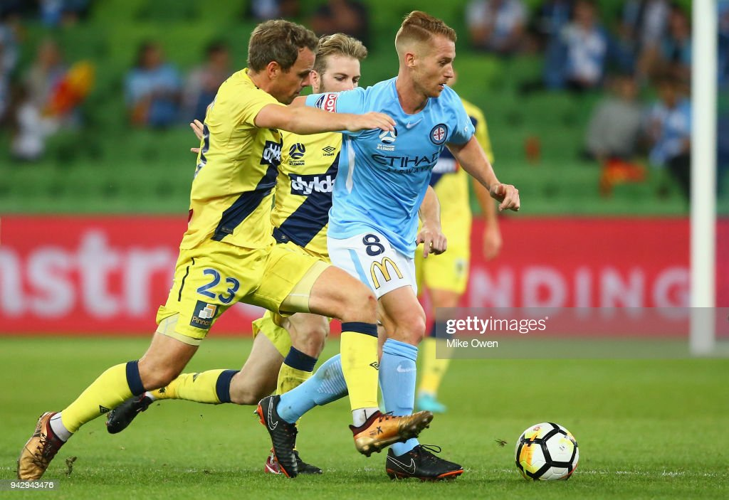 Oliver Bozanic of Melbourne City and Wout Brama of the Mariners compete for the ball during the round 26 A-League match between Melbourne City and the Central Coast Mariners at AAMI Park on April 7, 2018 in Melbourne, Australia.