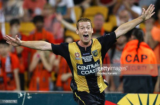 Oliver Bozanic of the Mariners scores a goal in extra time during the A-League Grand Final match between the Brisbane Roar and the Central Coast...